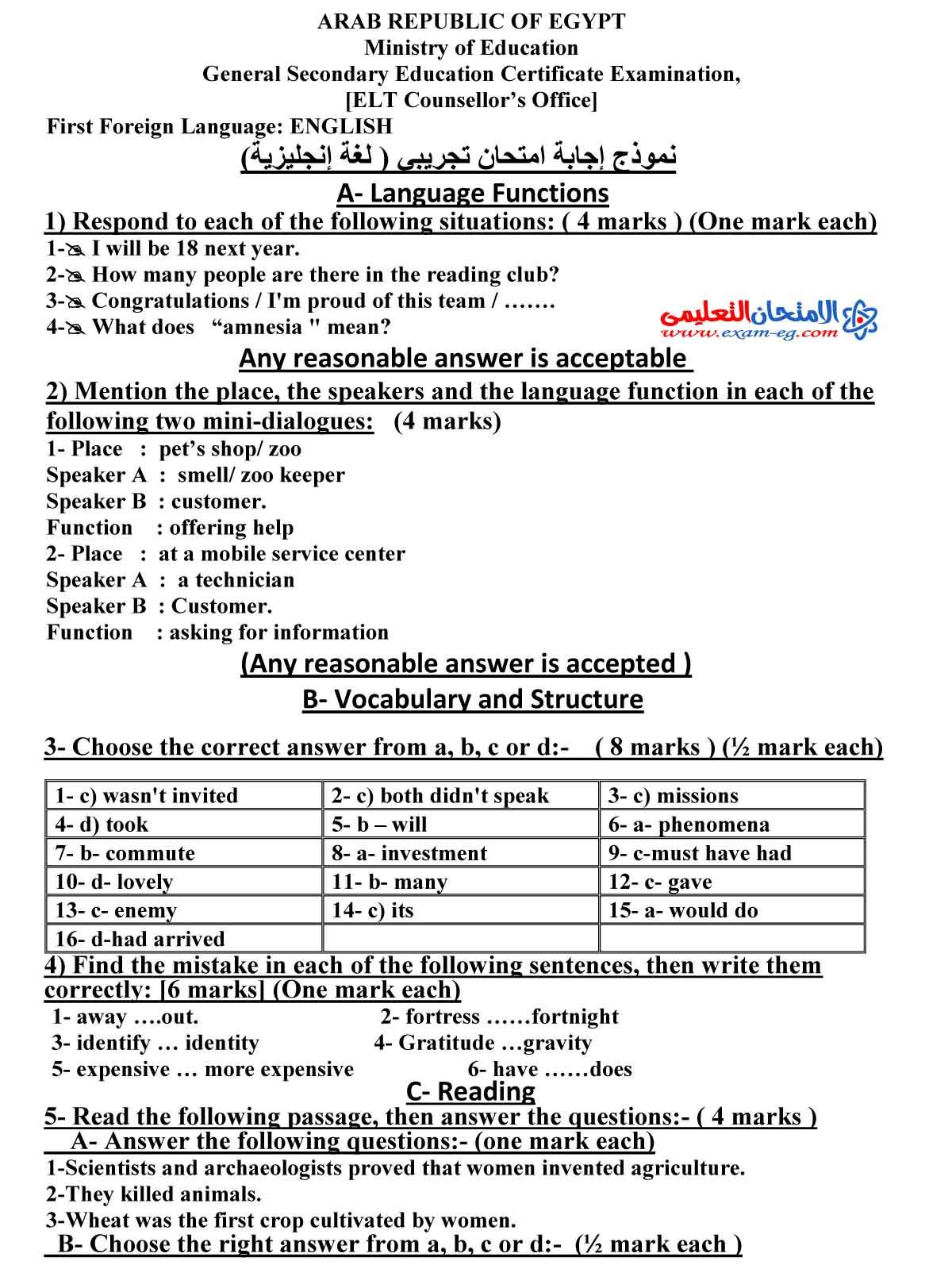 اجابة لغة انجليزية 1 - الامتحان التعليمى-1
