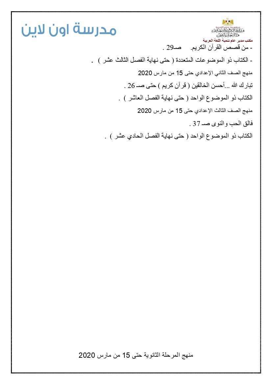 المنهج المقرر فى اللغة العربية للمرحلة الاعدادية الترم الثانى 2020