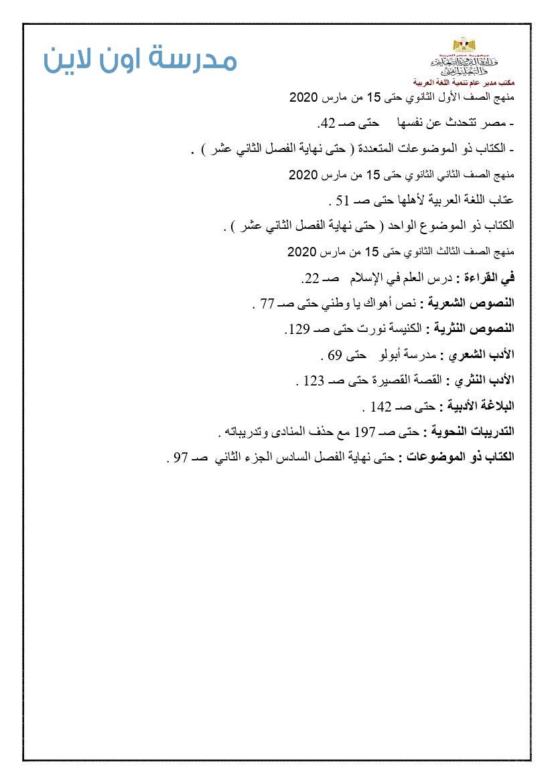 المنهج المقرر فى اللغة العربية للمرحلة الثانوية الترم الثانى 2020