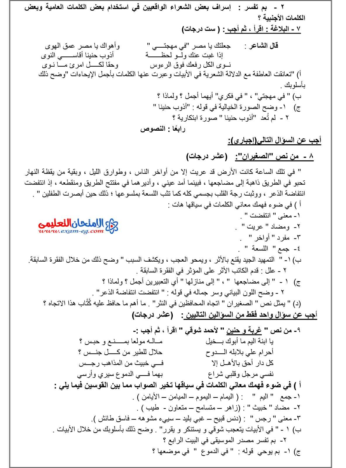 امتحان الوزارة فى اللغة العربية 2