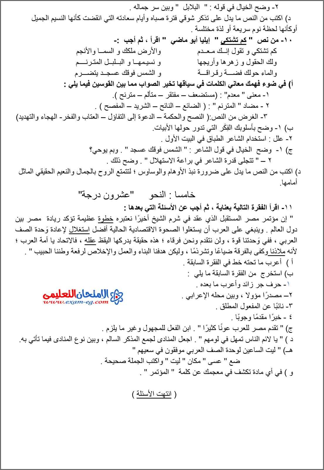 امتحان الوزارة فى اللغة العربية 3