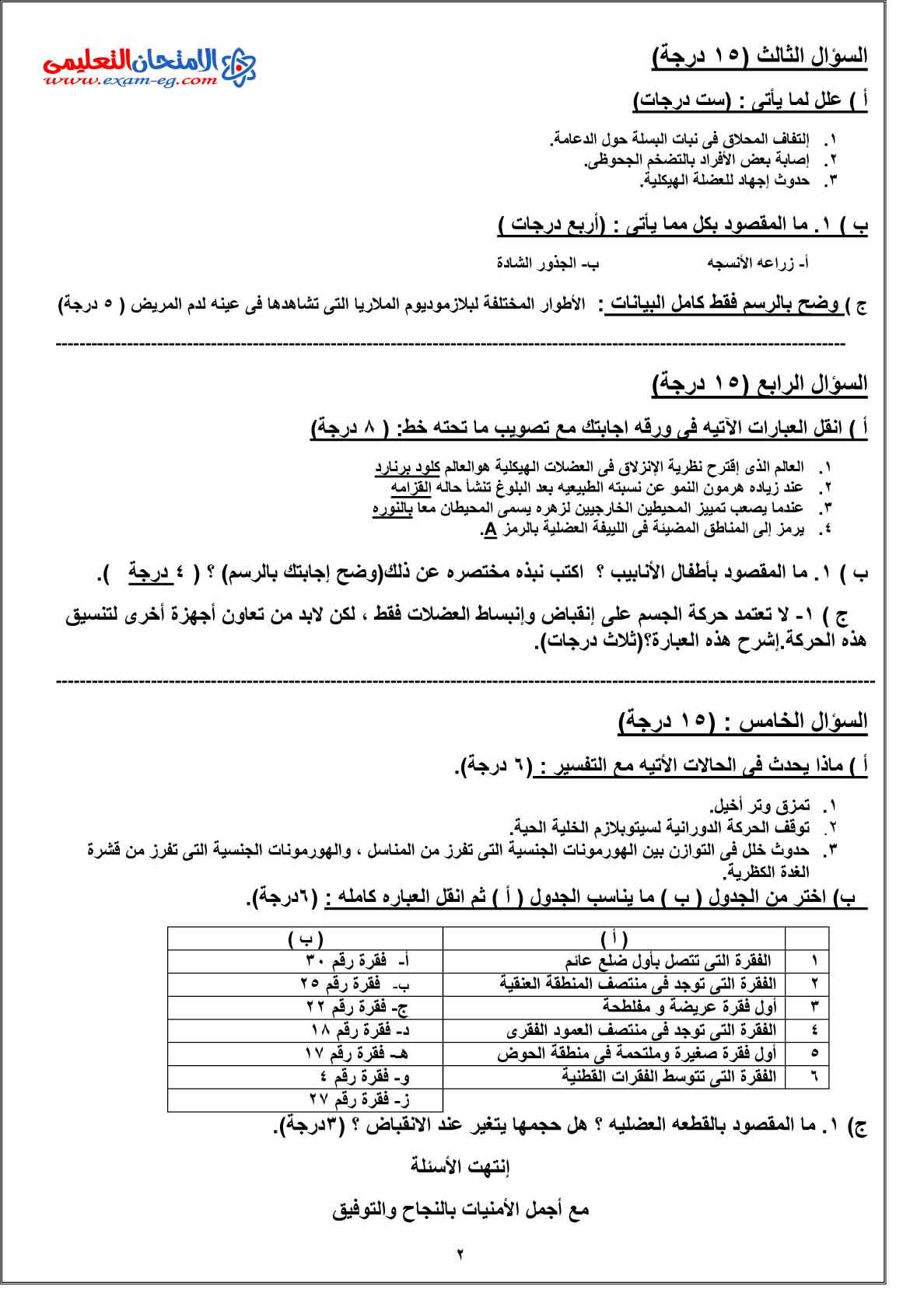 امتحان الاحياء 1 - الامتحان التعليمى-2