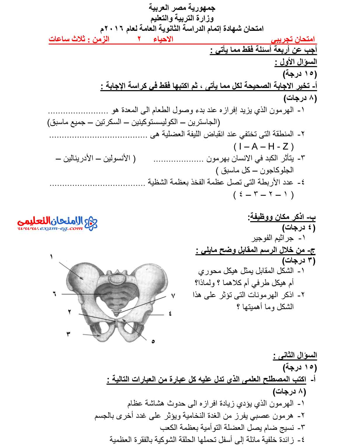 امتحان الاحياء 2 - الامتحان التعليمى-1