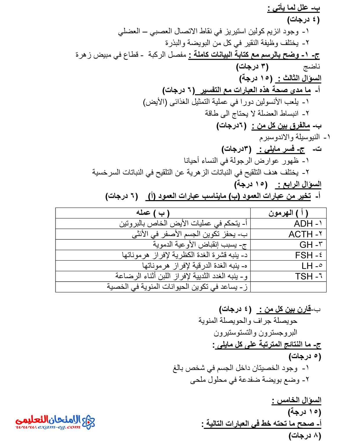 امتحان الاحياء 2 - الامتحان التعليمى-2