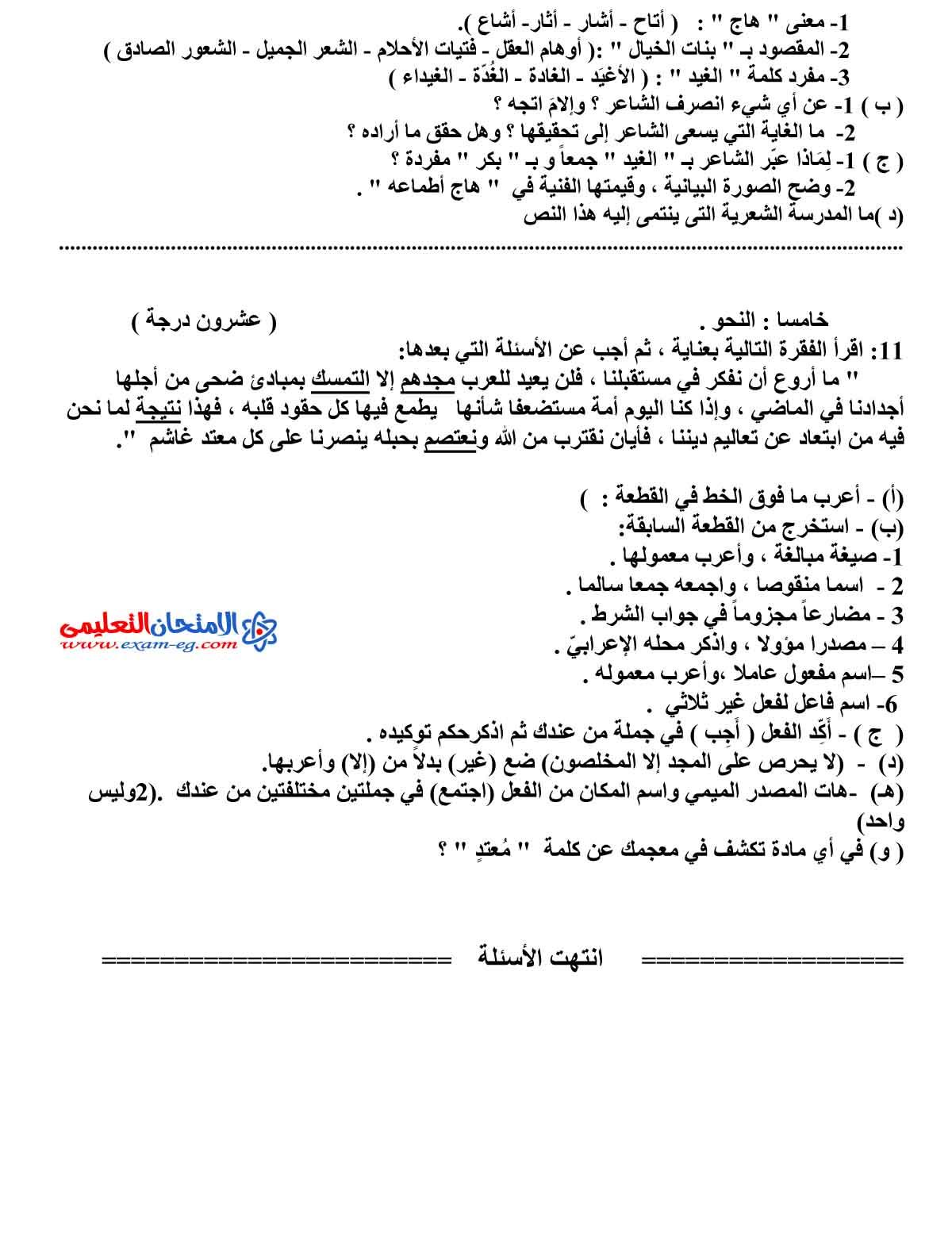 امتحان اللغة العربية 1 - مدرسة اون لاين (4)