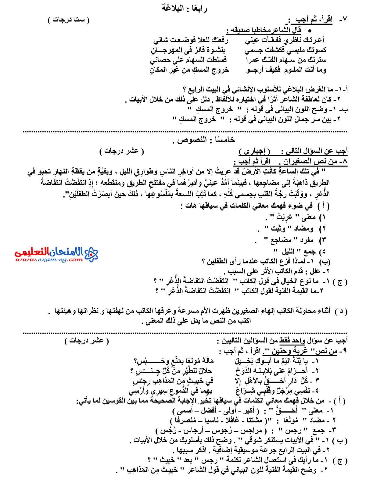 امتحان اللغة العربية 2 - مدرسة اون لاين (3)