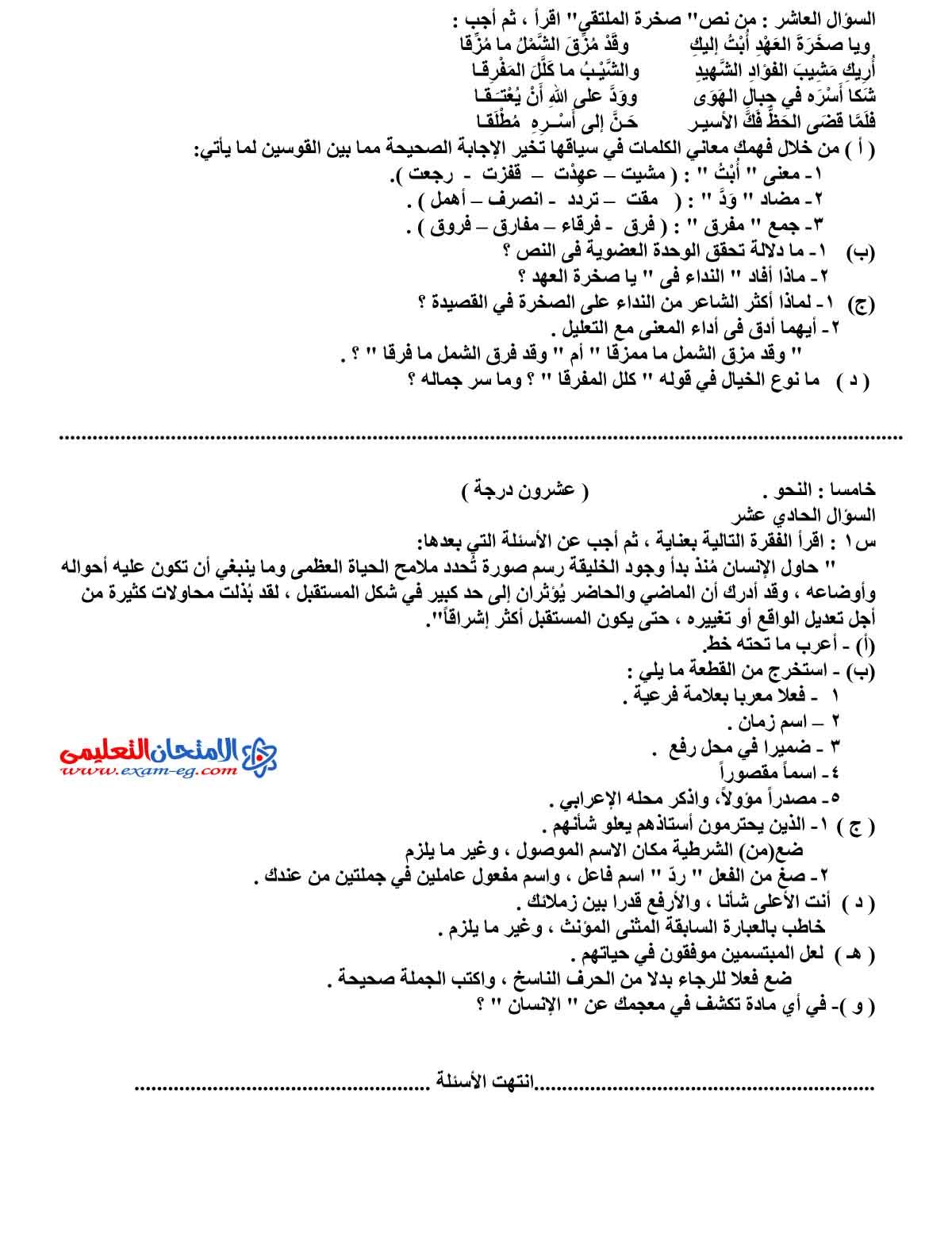 امتحان اللغة العربية 4 - مدرسة اون لاين (4)