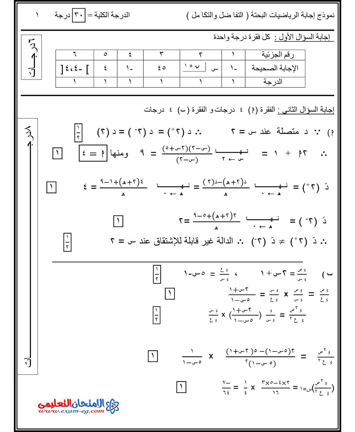 تفاضل وتكامل 1 - الامتحان التعليمى-3