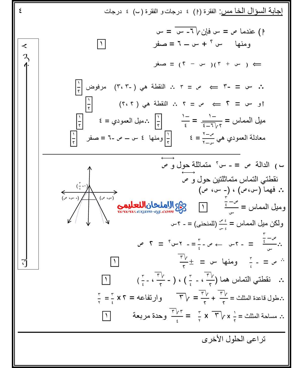 تفاضل وتكامل 1 - الامتحان التعليمى-6