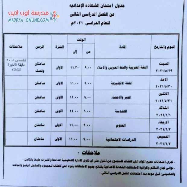 جدول الشهادة الاعدادية بجنوب سيناء