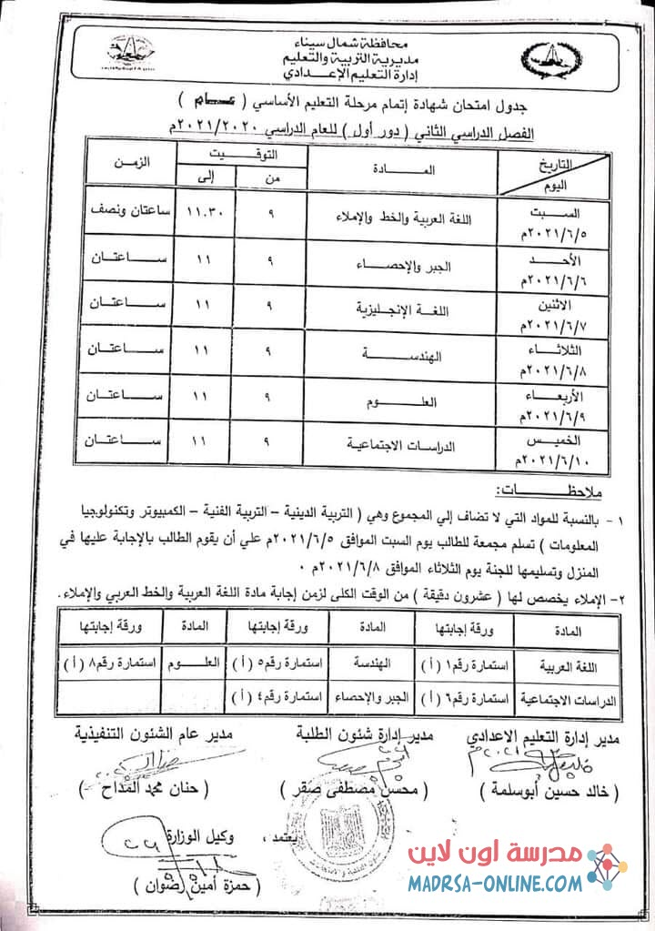 جدول شمال سيناء
