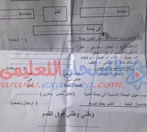 امتحان عربى تانية ابتدائى ابنوب