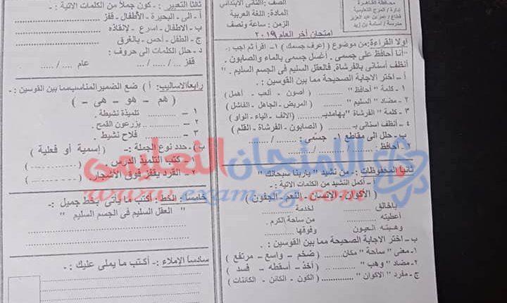 امتحان عربى تانية ابتدائى المرج