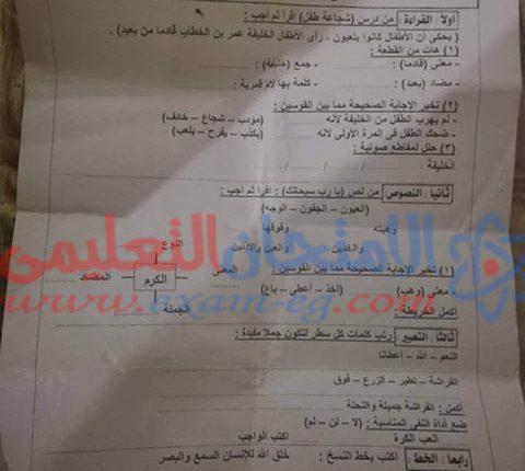 امتحان عربى تانية ابتدائى الوراق