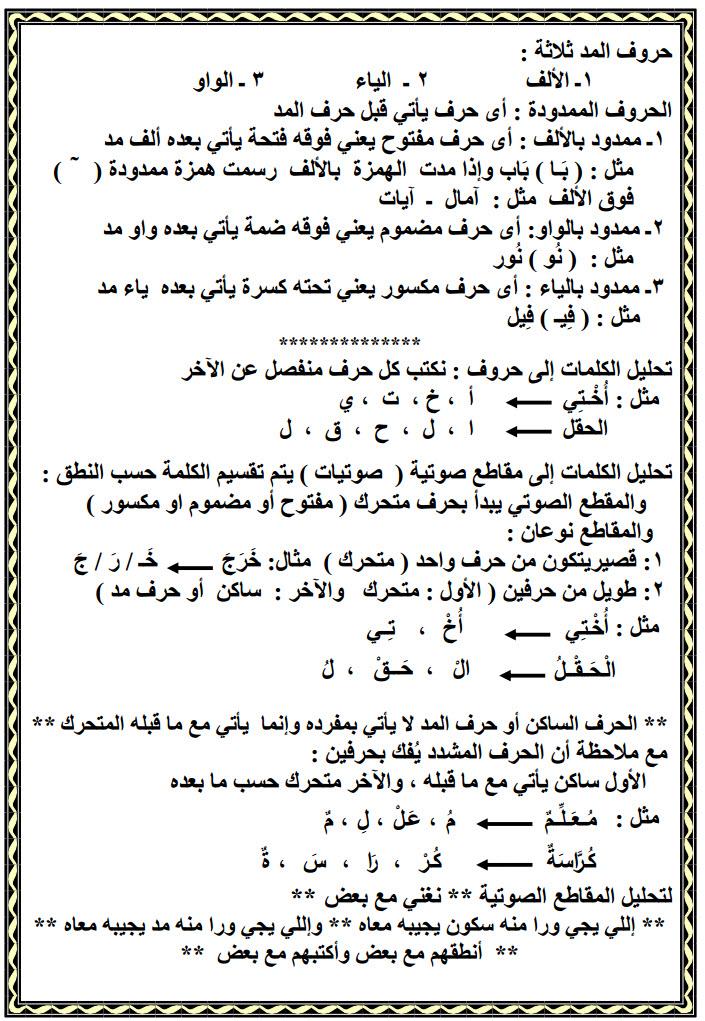 مذكرة عربى اولى ابتدائى