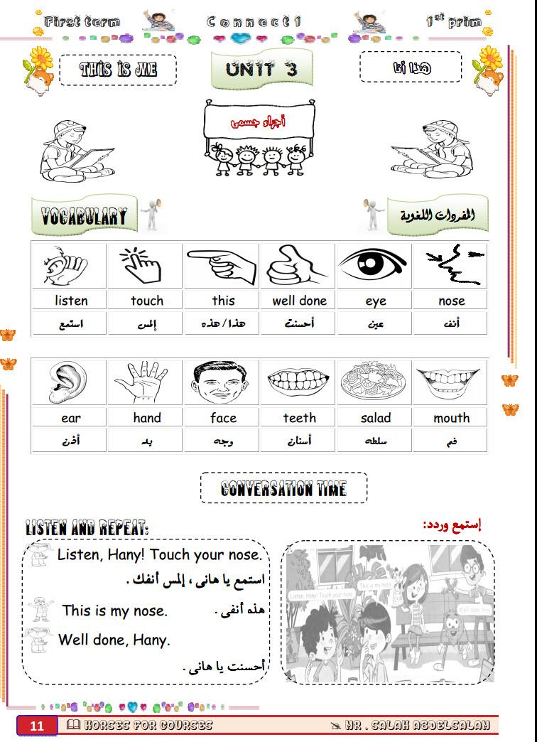مذكرة english للصف الاول الابتدائى